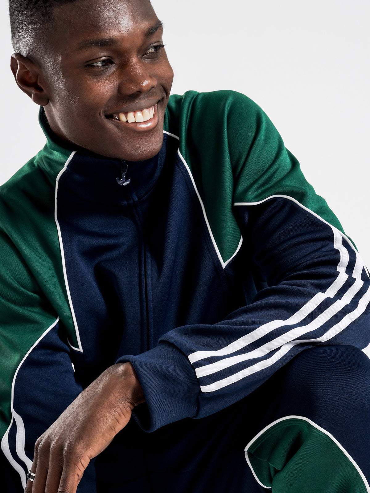 Big Trefoil Abstract Track Jacket in Collegiate Navy, Dark Green & White