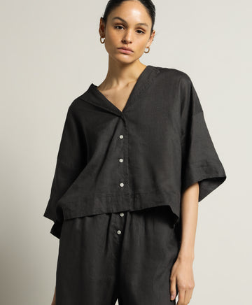 Linen Lounge Shirt in Black