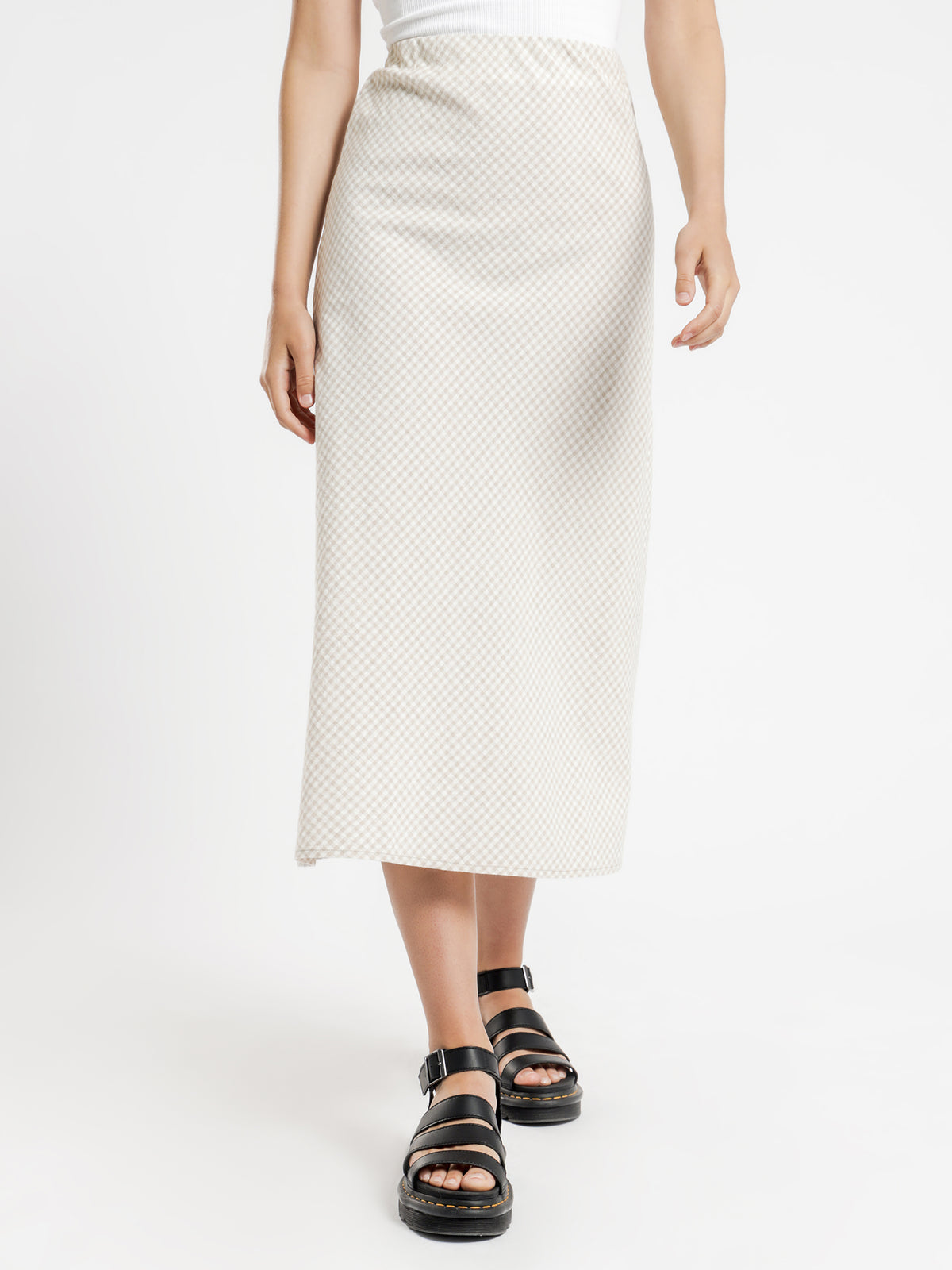 Eliza Check Midi Skirt in Sand