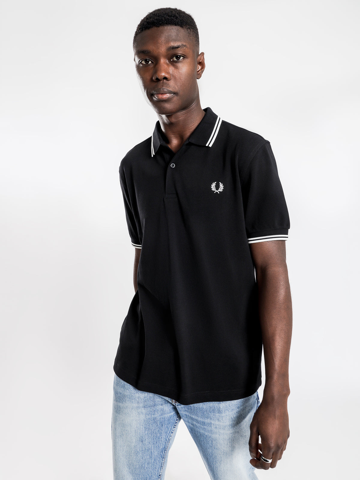 Twin Tipped Polo T-Shirt in Black & White