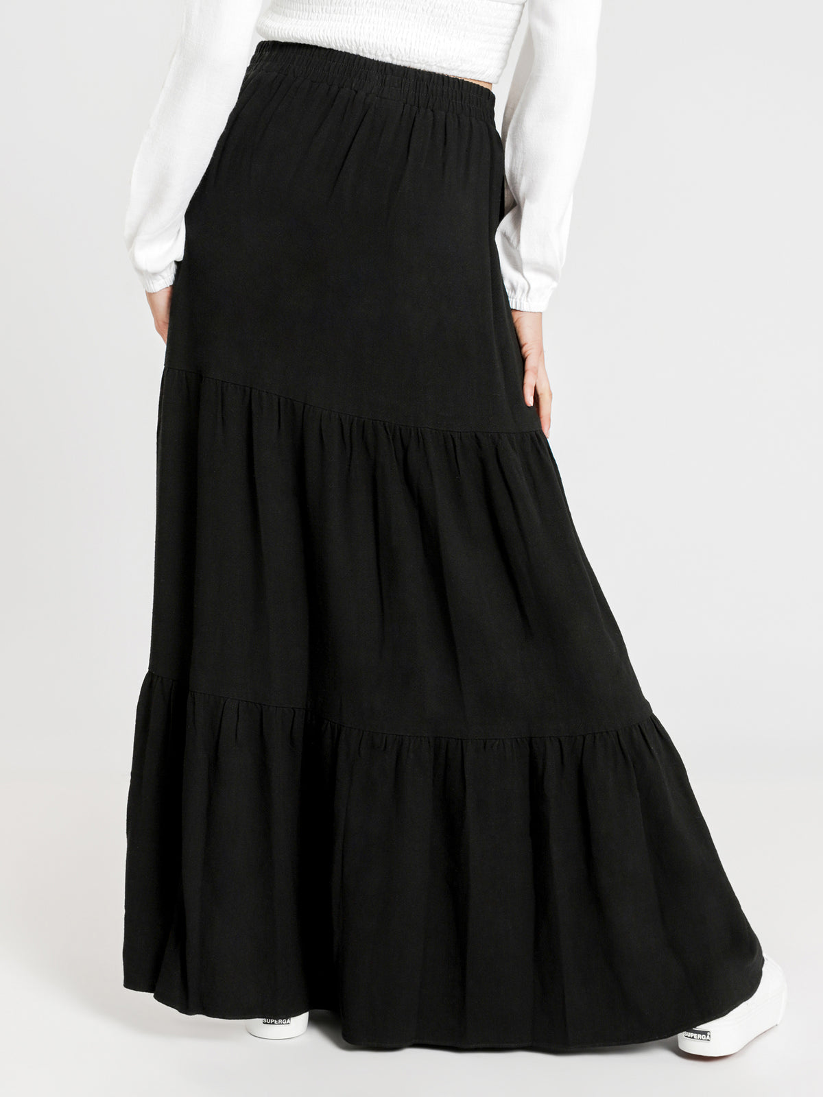 Janis Tiered Maxi Skirt in Black