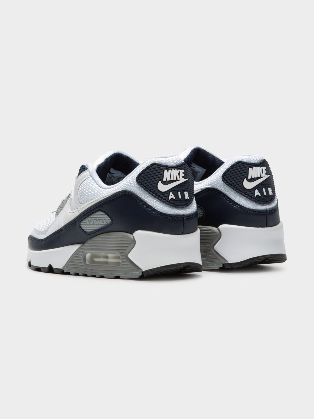 Mens Air Max 90 Sneakers in White Grey & Black