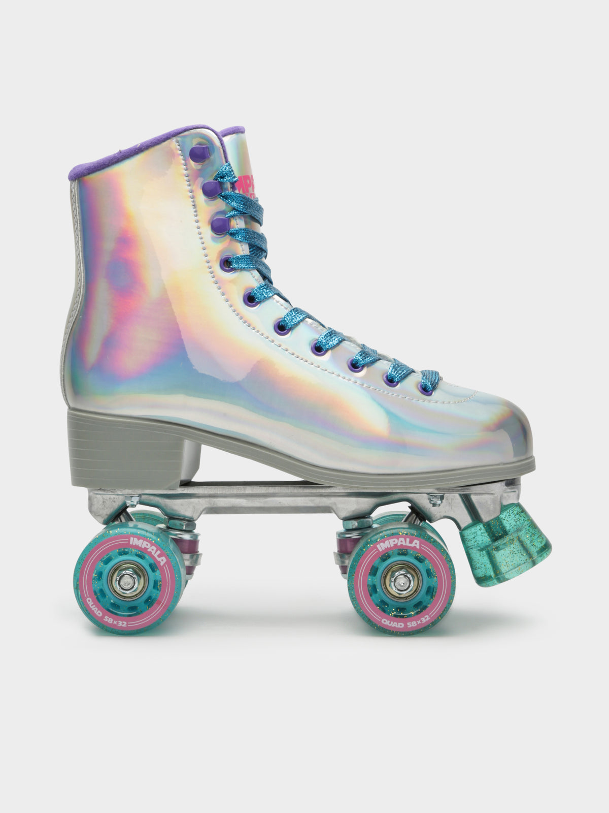 Quad Skates in Holographic Silver