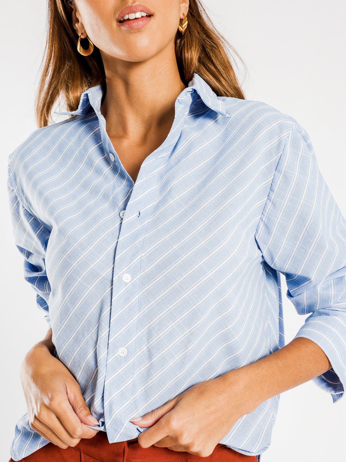 Hanam Oversized Shirt in Blue & White Stripe