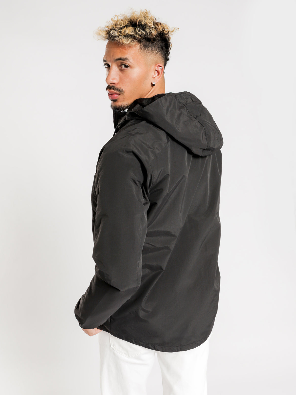 Panelled Zip Through Jacket in Black