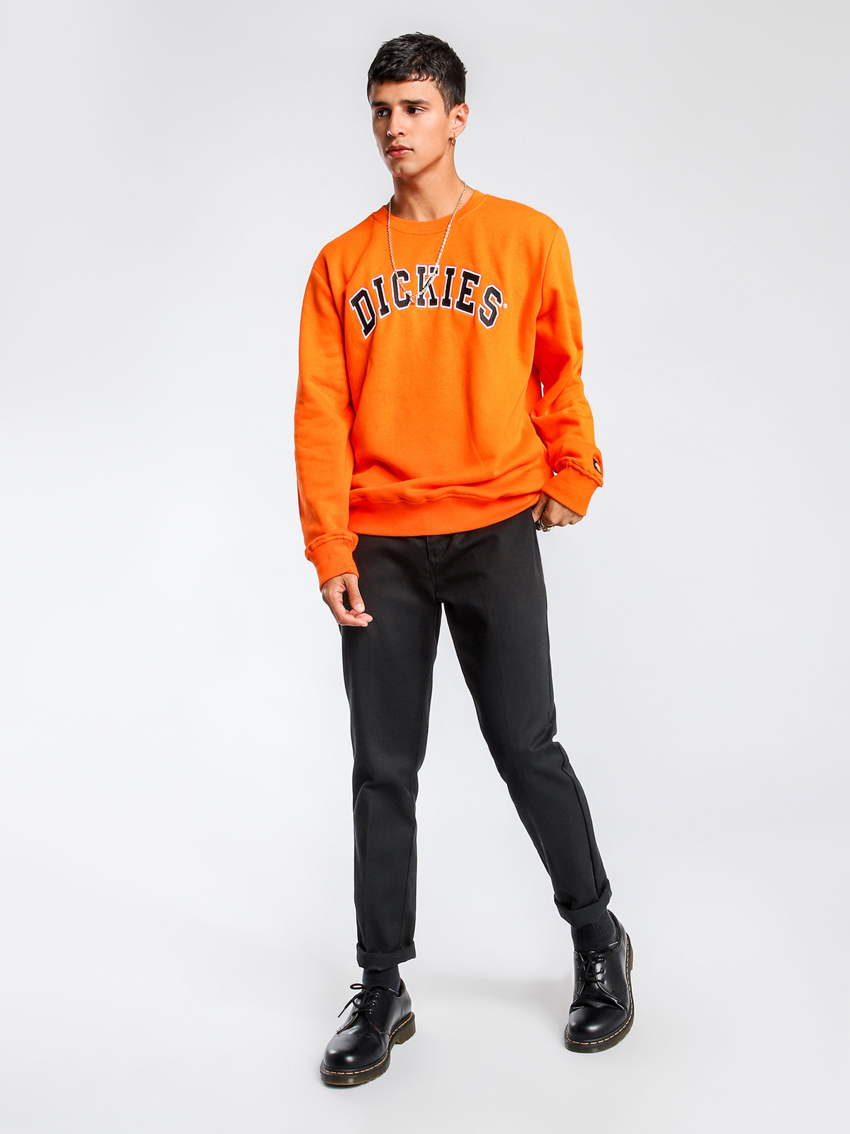 Princeton Crew Neck Sweater in Orange