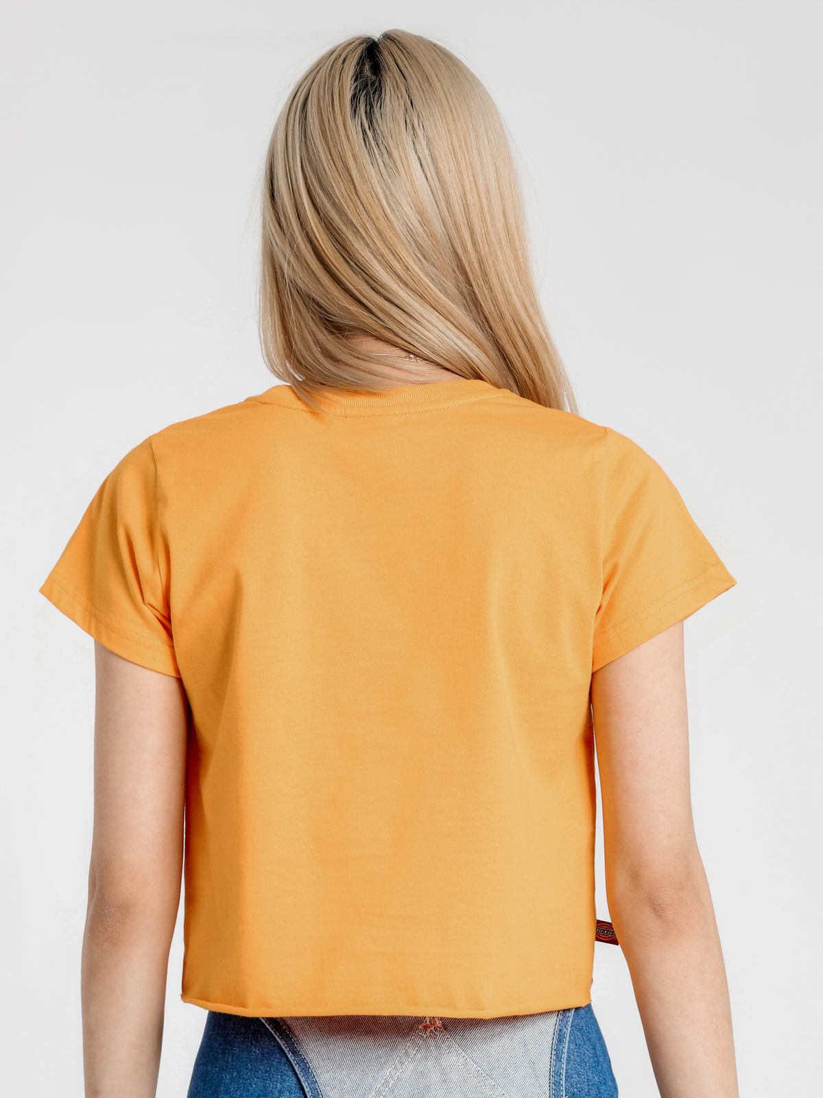 HS Logo Cropped T-Shirt in Orange