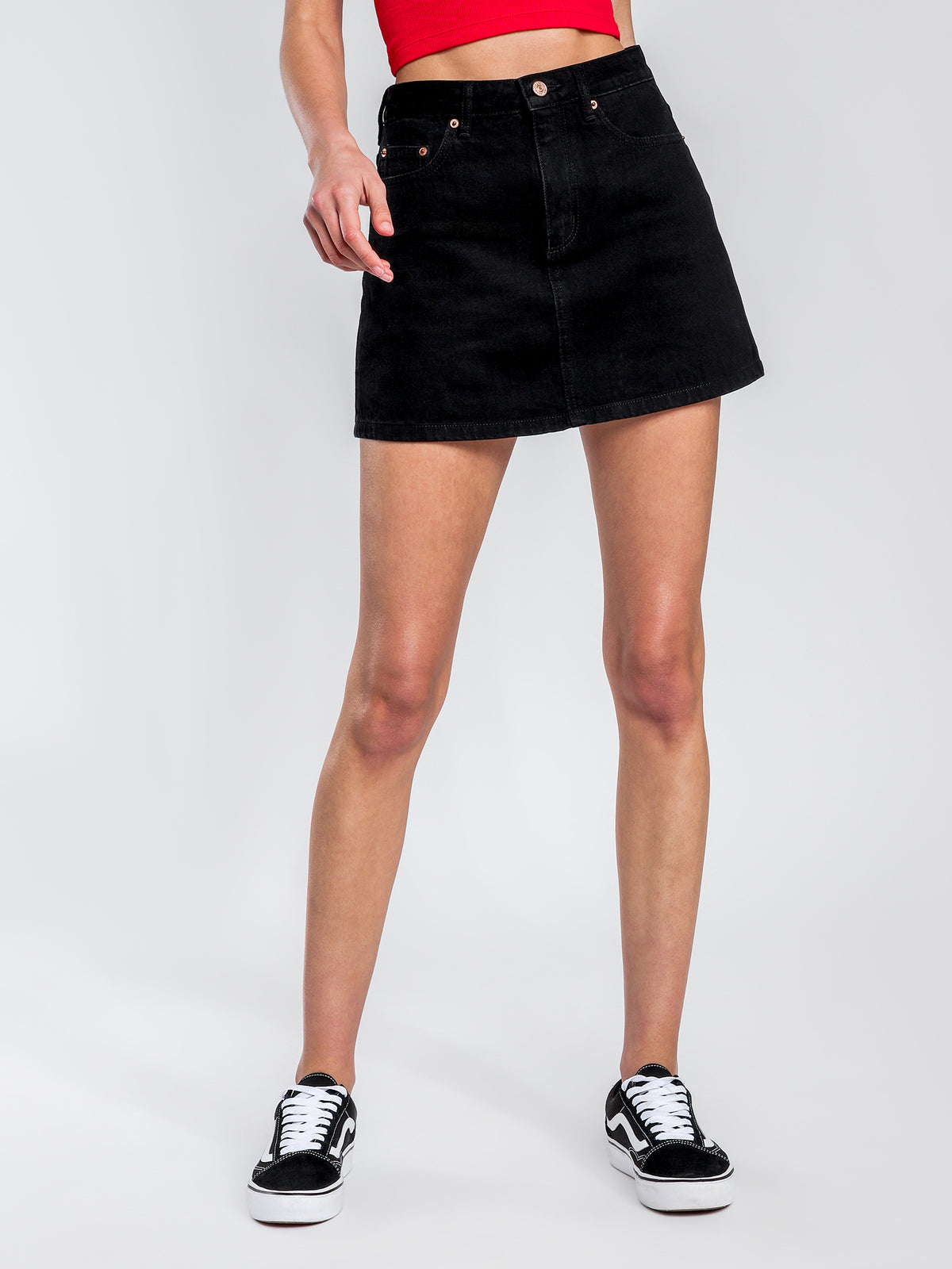 Lola A-Line Skirt in Black Heat Denim