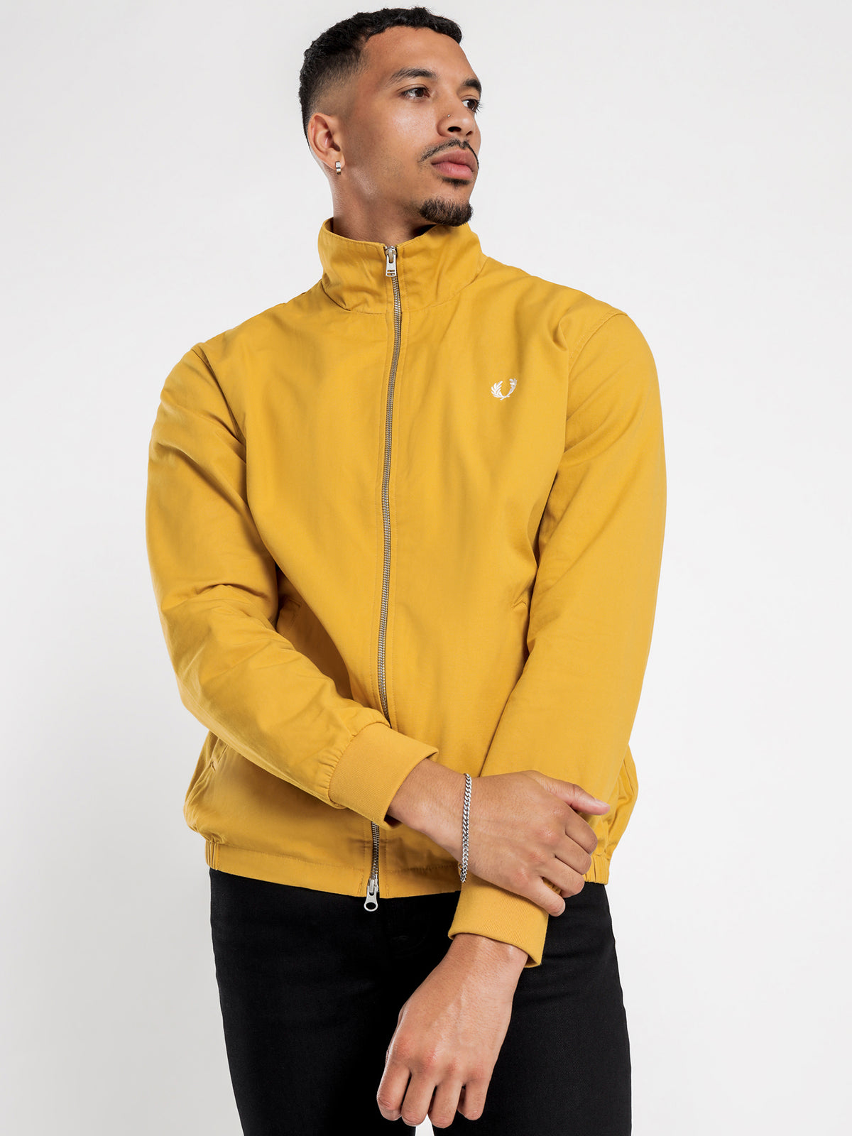 Embroidered Zip Through Jacket in Dijon Yellow