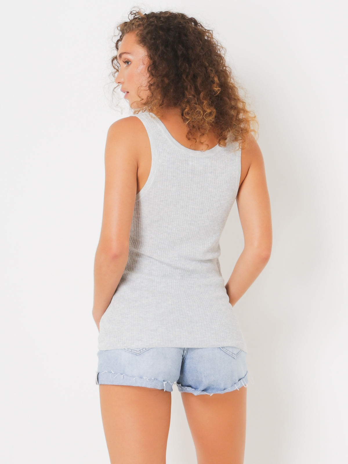 Evelyn Lurex Knit Singlet in Silver