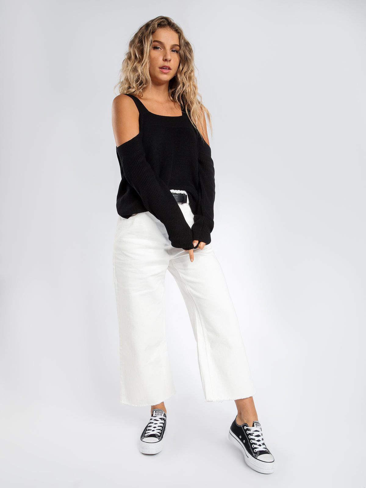 Una Off Shoulder Knit in Black