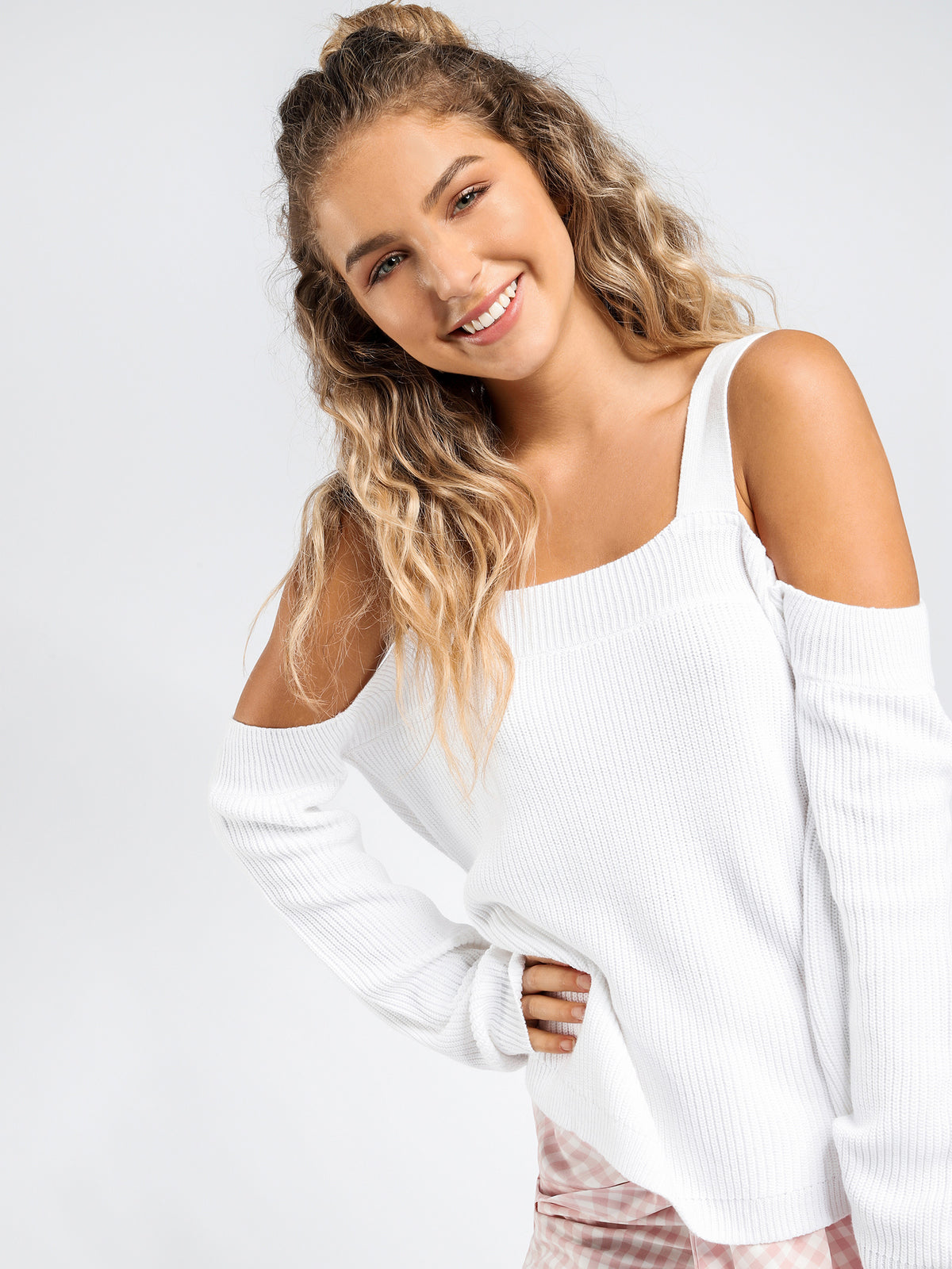 Una Off Shoulder Knit in White