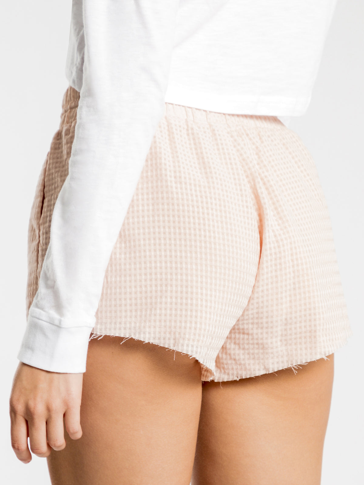 Edie Sheer Gingham Shorts in Nude