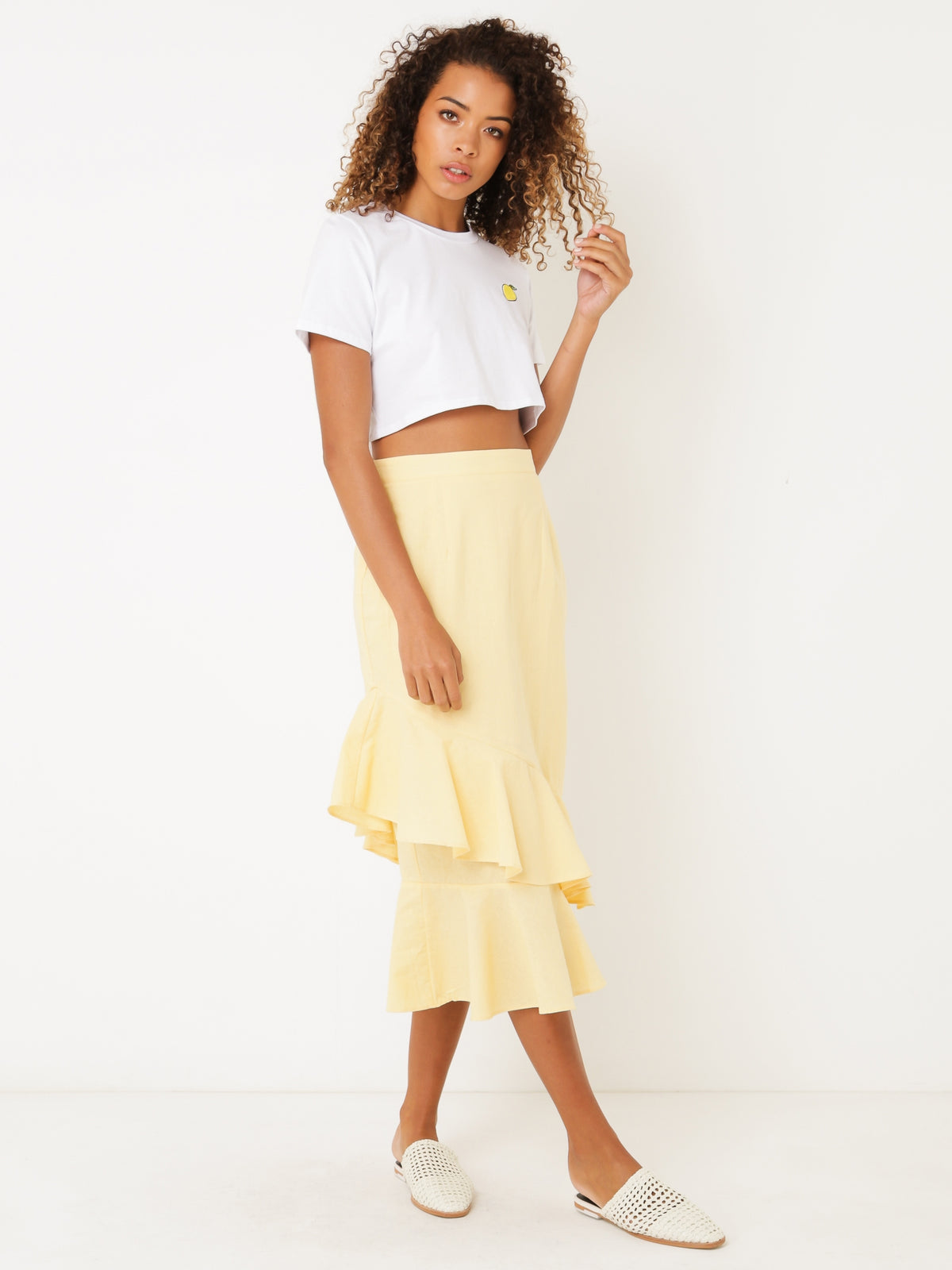 Inez Midi Skirt in Yellow Linen