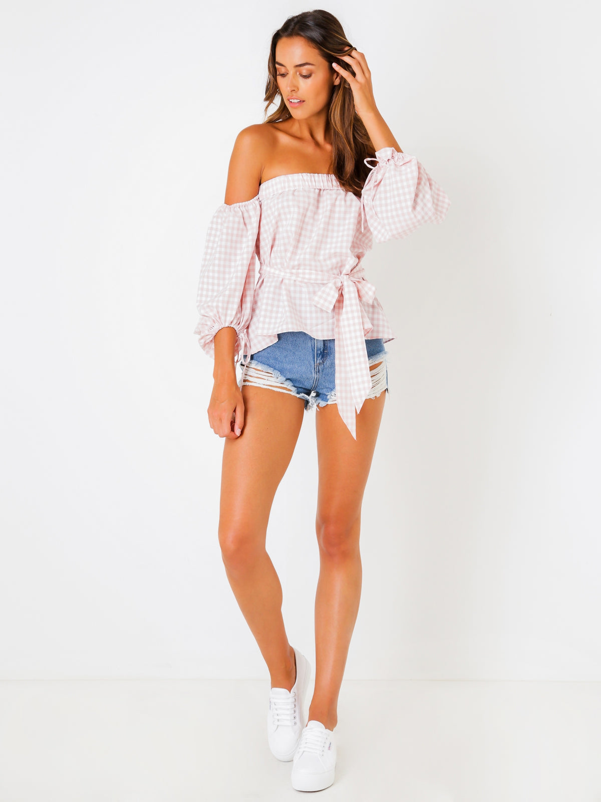Neve Off The Shoulder Top in Pink Gingham Print