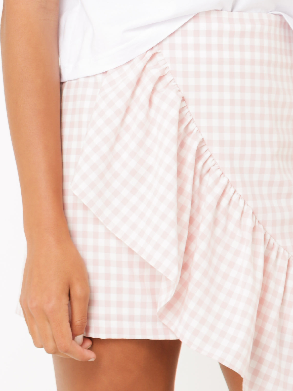 Neve Ruffle Mini Skirt in Pink Gingham Print