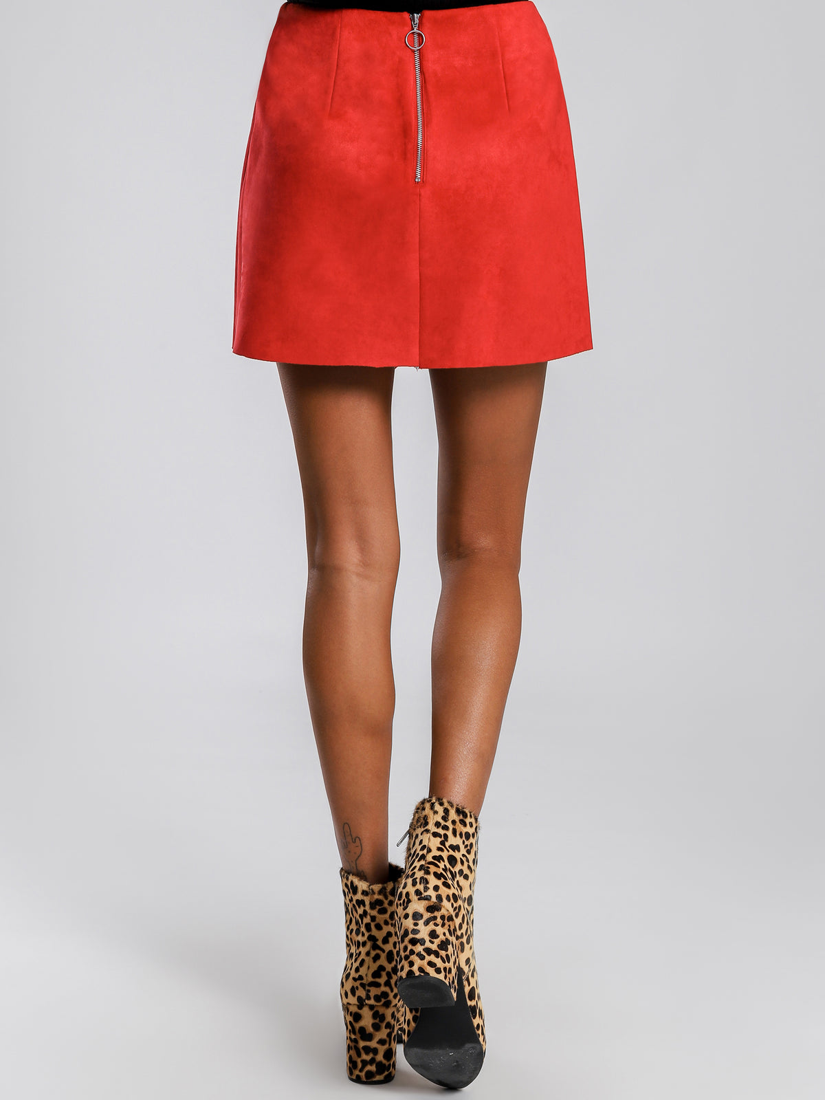 Blair Ruffle Mini Skirt in Red Suedette