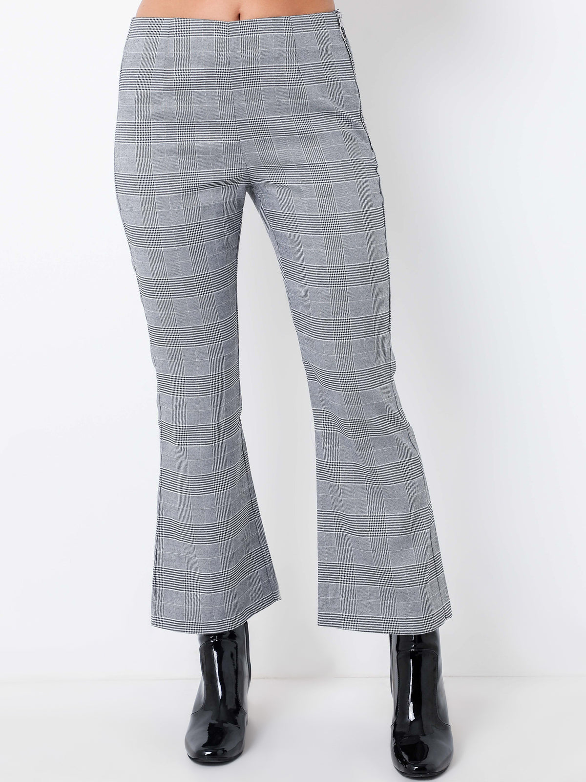 Millicent Crop Flare Pants in Black & White Check
