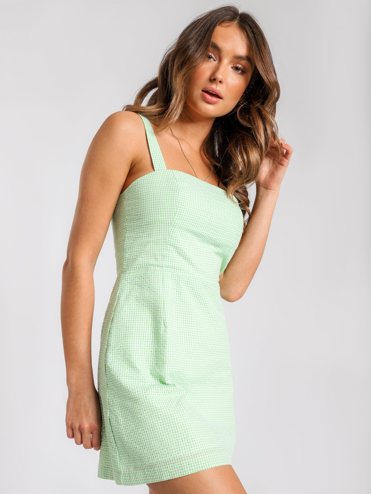 Solange Dress in Lime Green & White Check