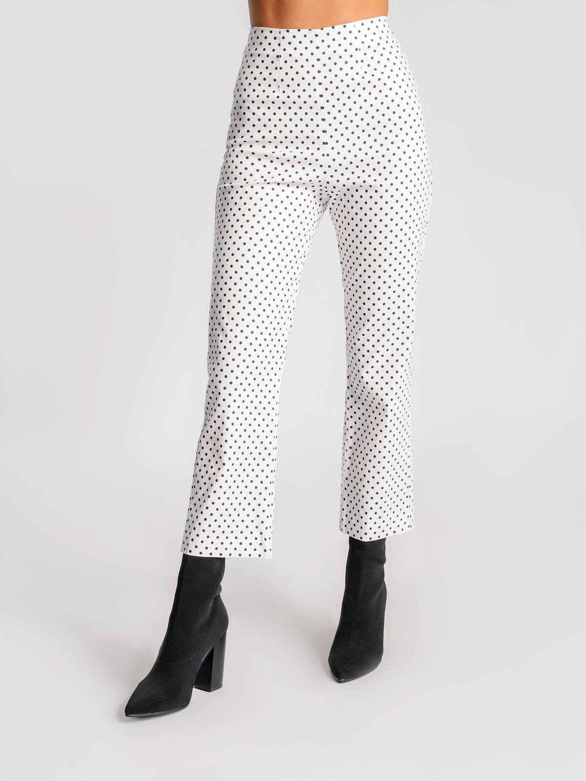 Drew Pants in White & Black Polka Dot Print