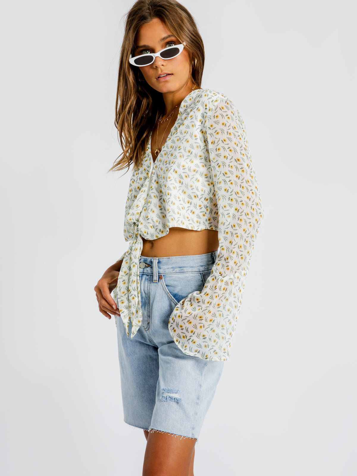Sabrina Tie Front Top in Sunflower Print