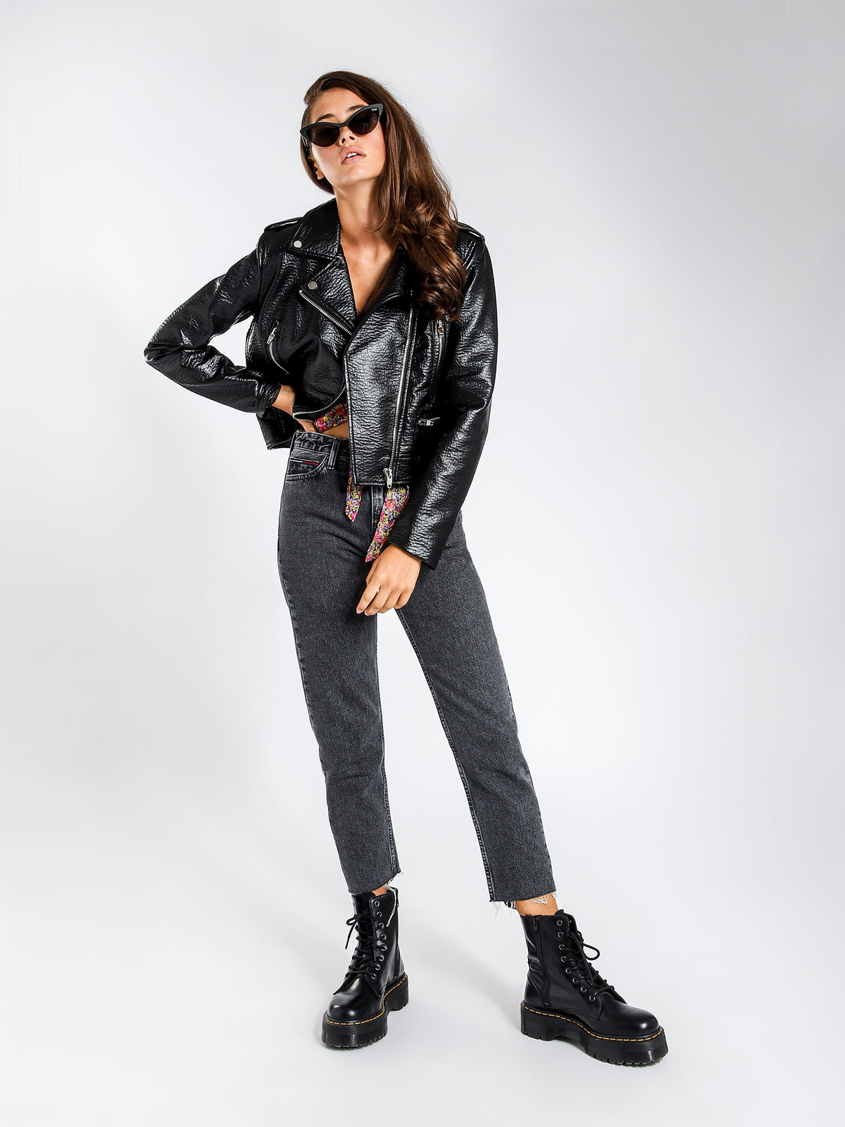 Quinn Biker Jacket in Black