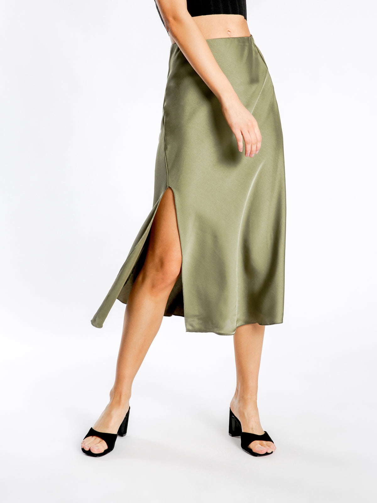 Tia Midi Skirt in Olive