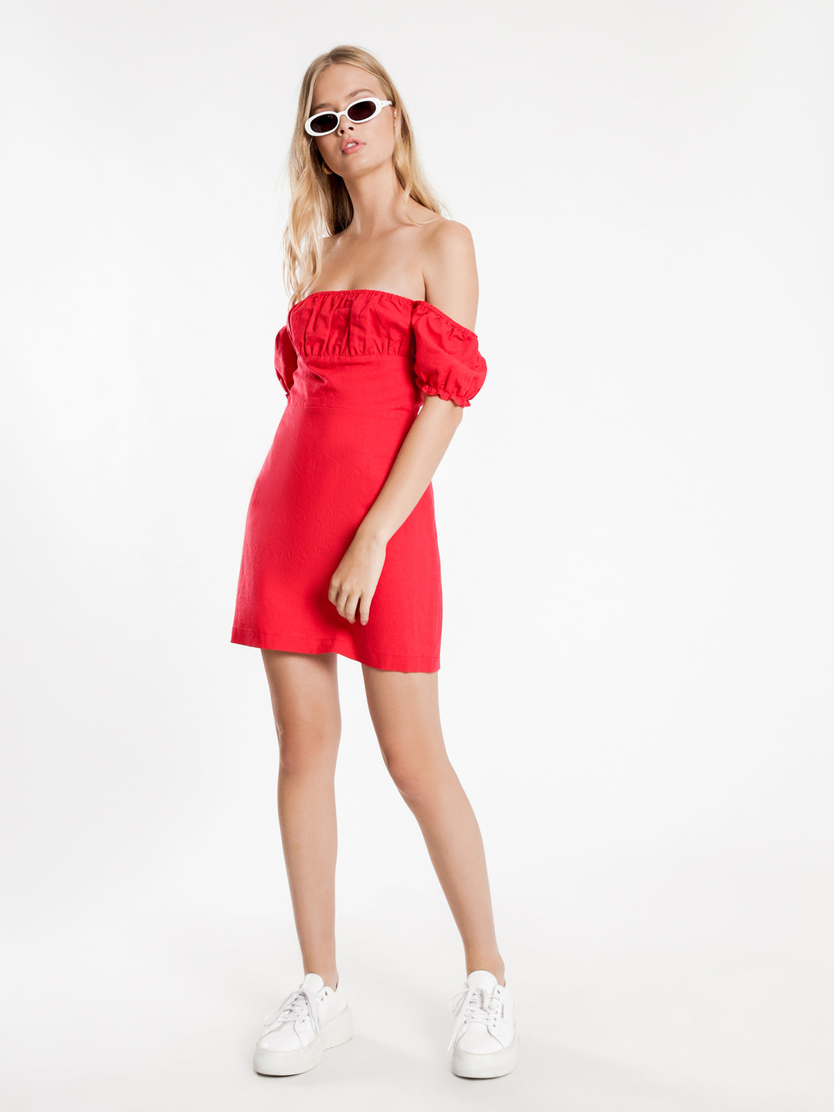 Edie Linen Dress in Red