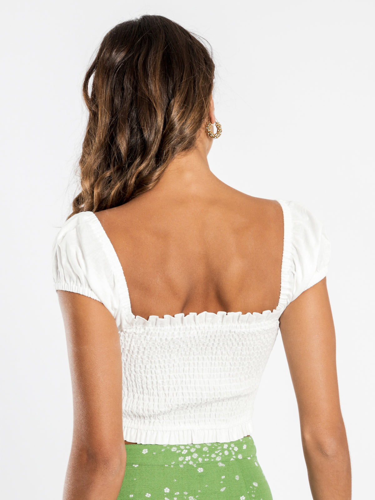 Monroe Shirred Top in White