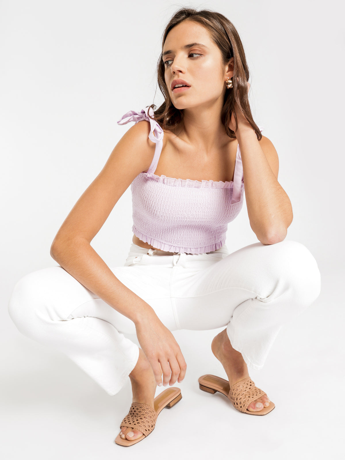 Calli Linen Top in Lilac
