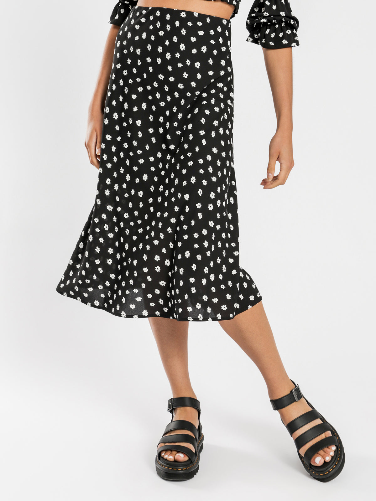Nova Midi Skirt in Black & White Floral