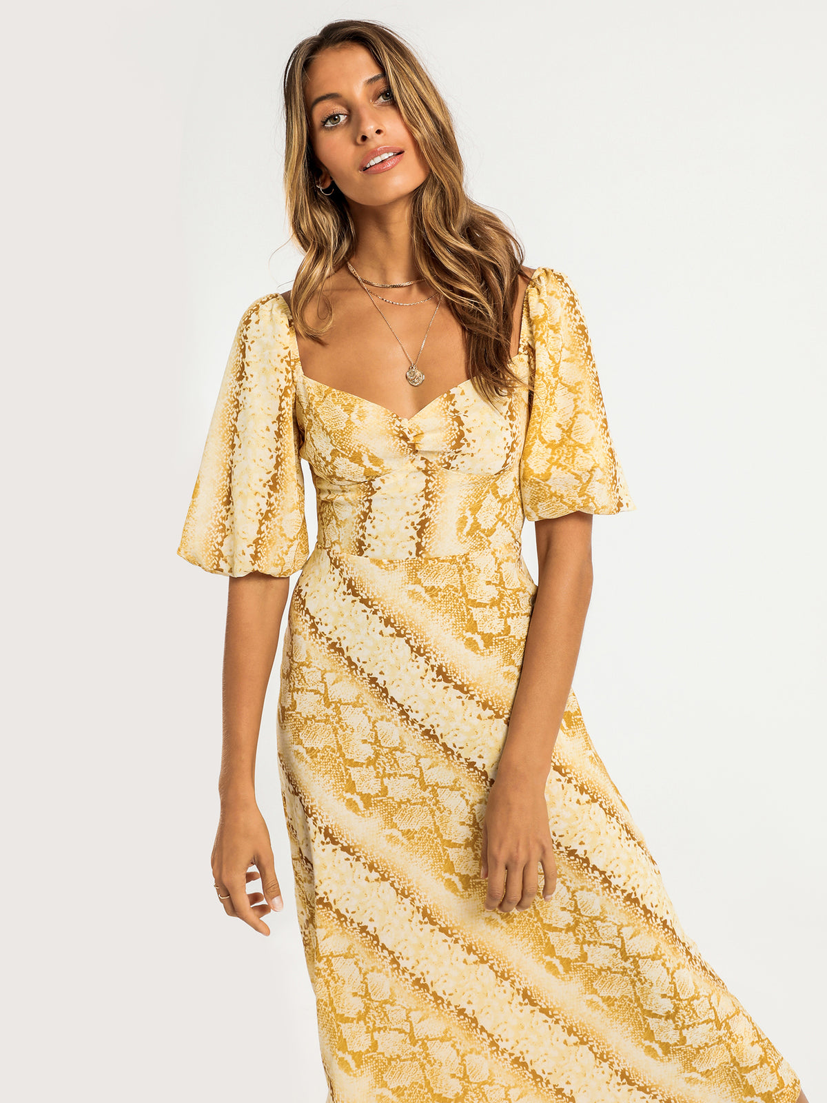 Cali Midi Dress in Yellow Snake Print