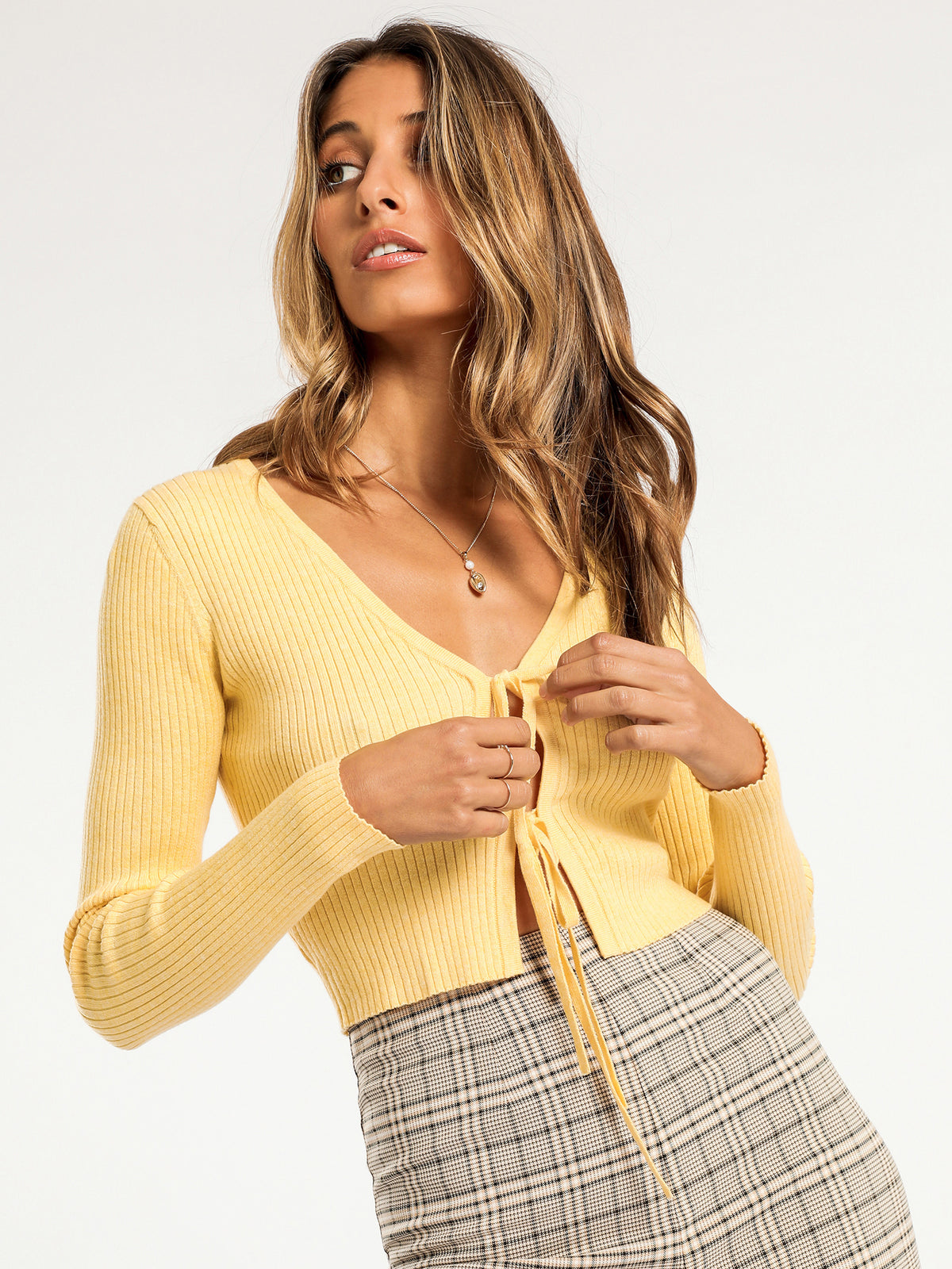 Ruby Tie Front Cardi in Butter Yellow