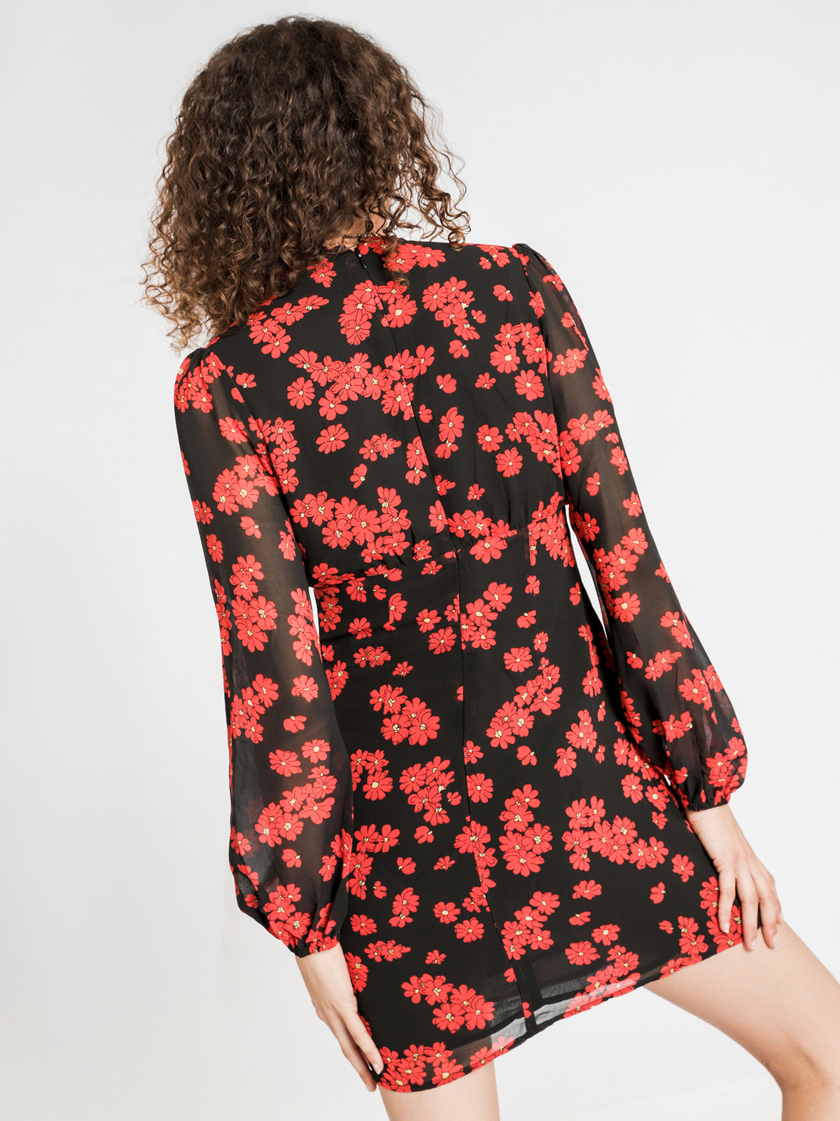 Evelyn Dress in Red & Black Floral