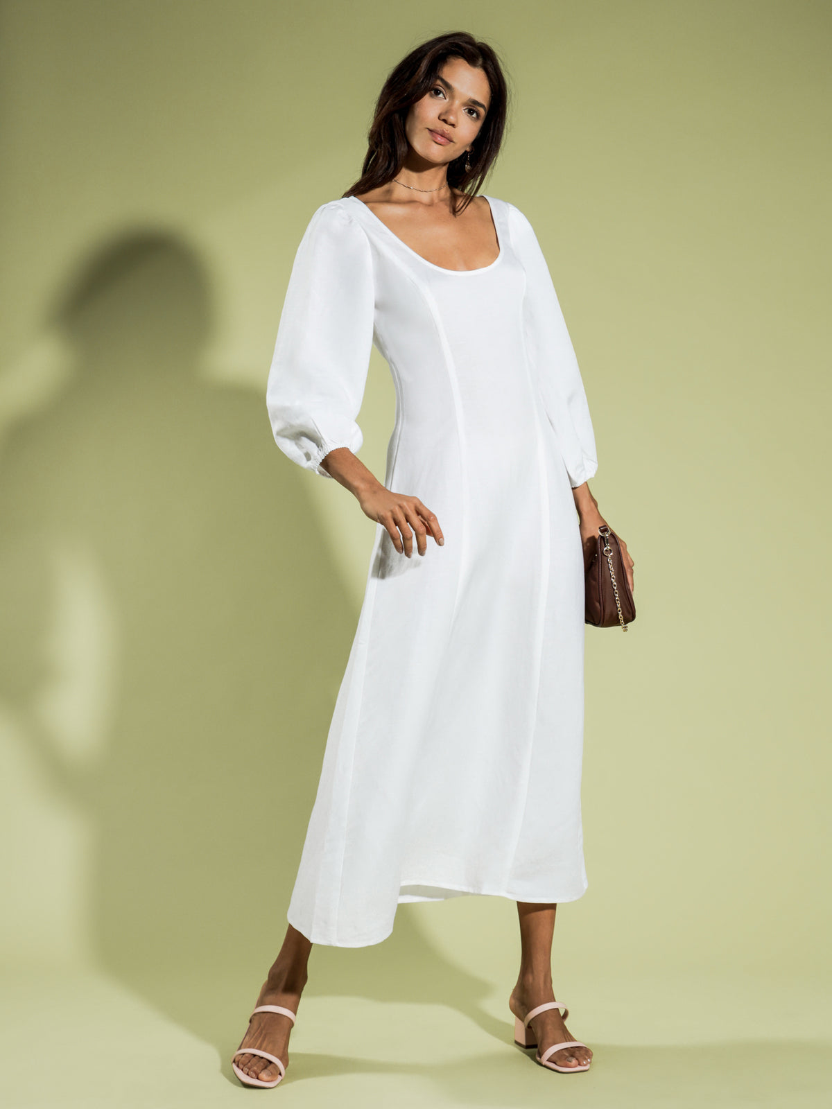 Kira Maxi Linen Dress in White