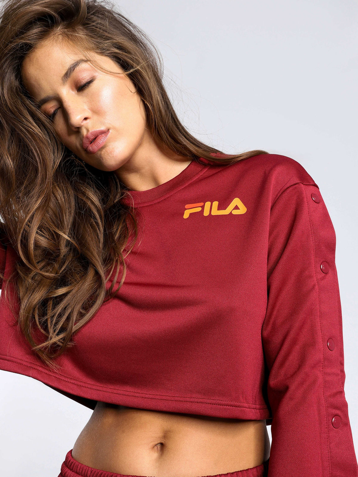 Aurora Flared Crop Sweatshirt in Tibetan Red