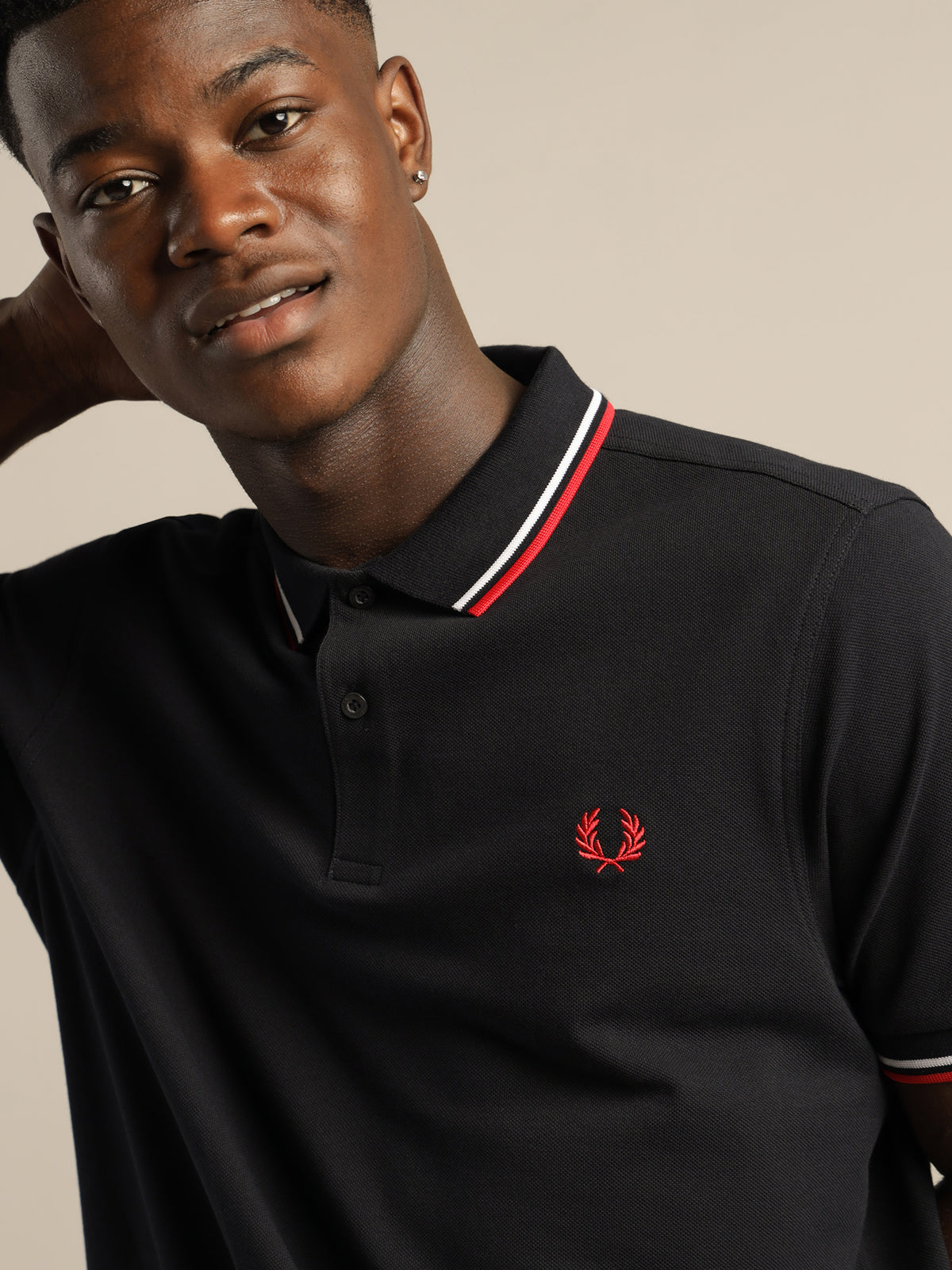 Twin Tipped Polo Shirt in Navy Blue & Red