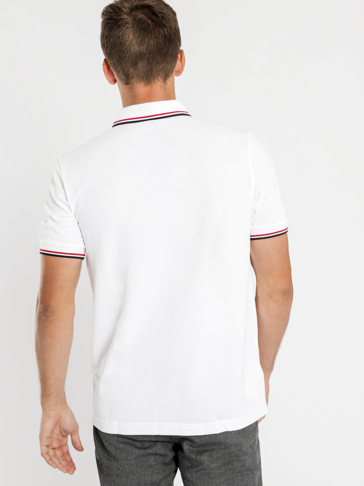 Twin Tipped Polo Shirt in White Red & Navy
