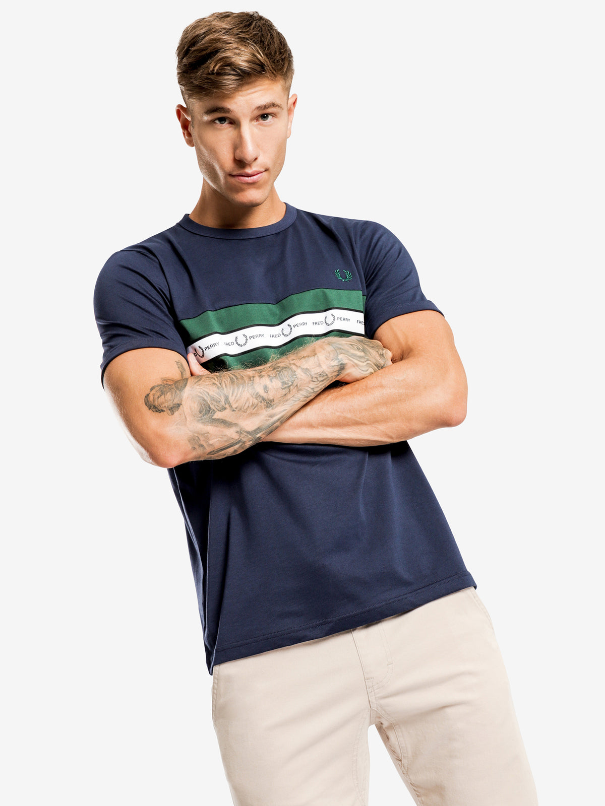 Tapered Chest T-Shirt in Blue
