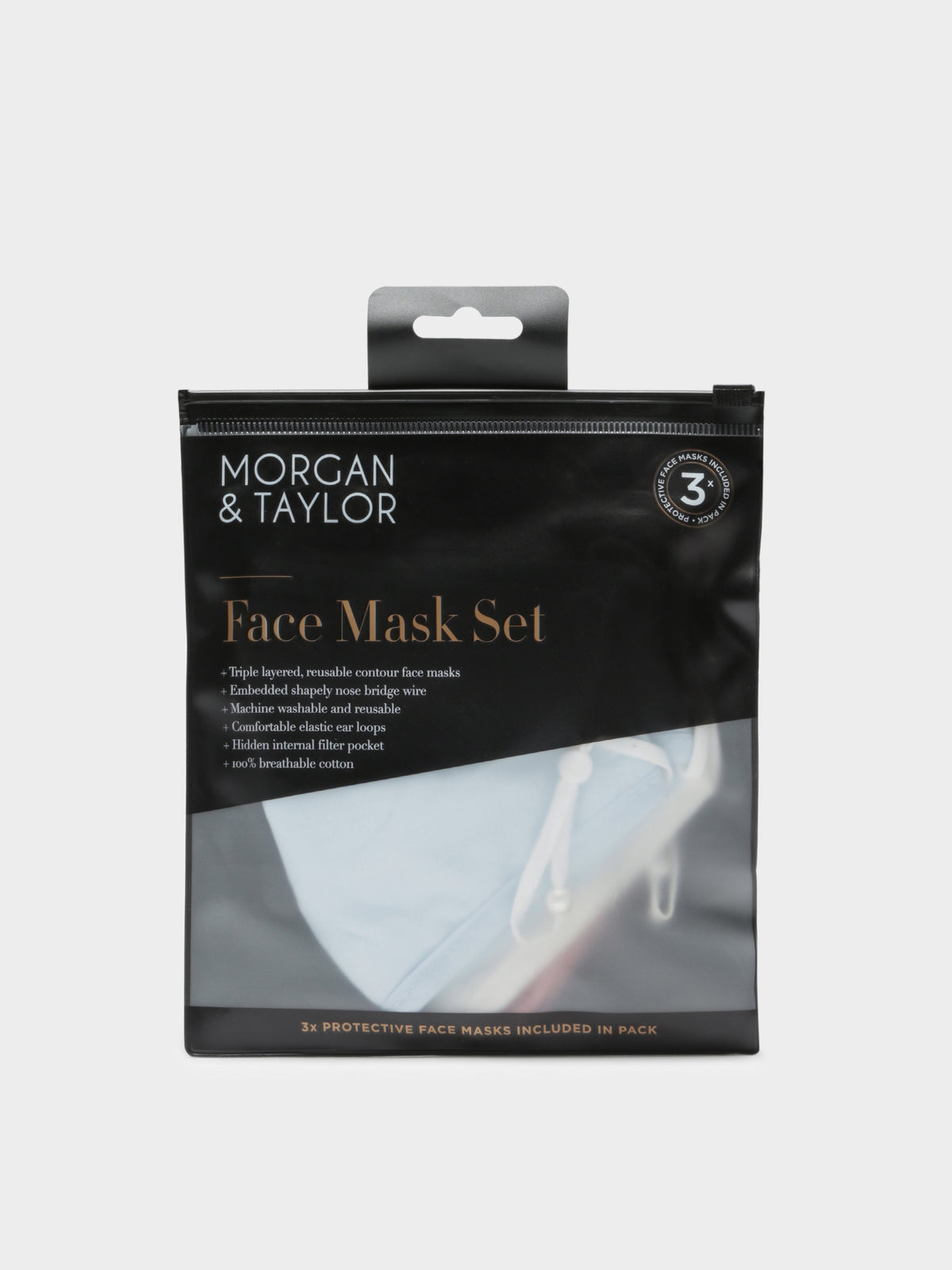 Face Mask 3x Set in White Pink & Blue