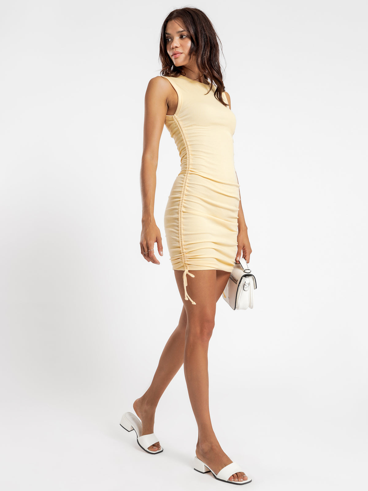 Misha Rib Gathered Dress in Yellow