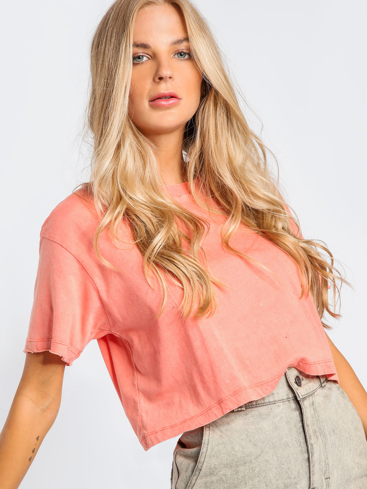 Moth Crop T-Shirt in Coral
