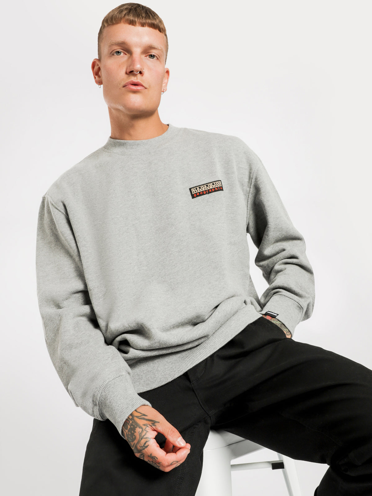 Base C Crew Sweater in Grey