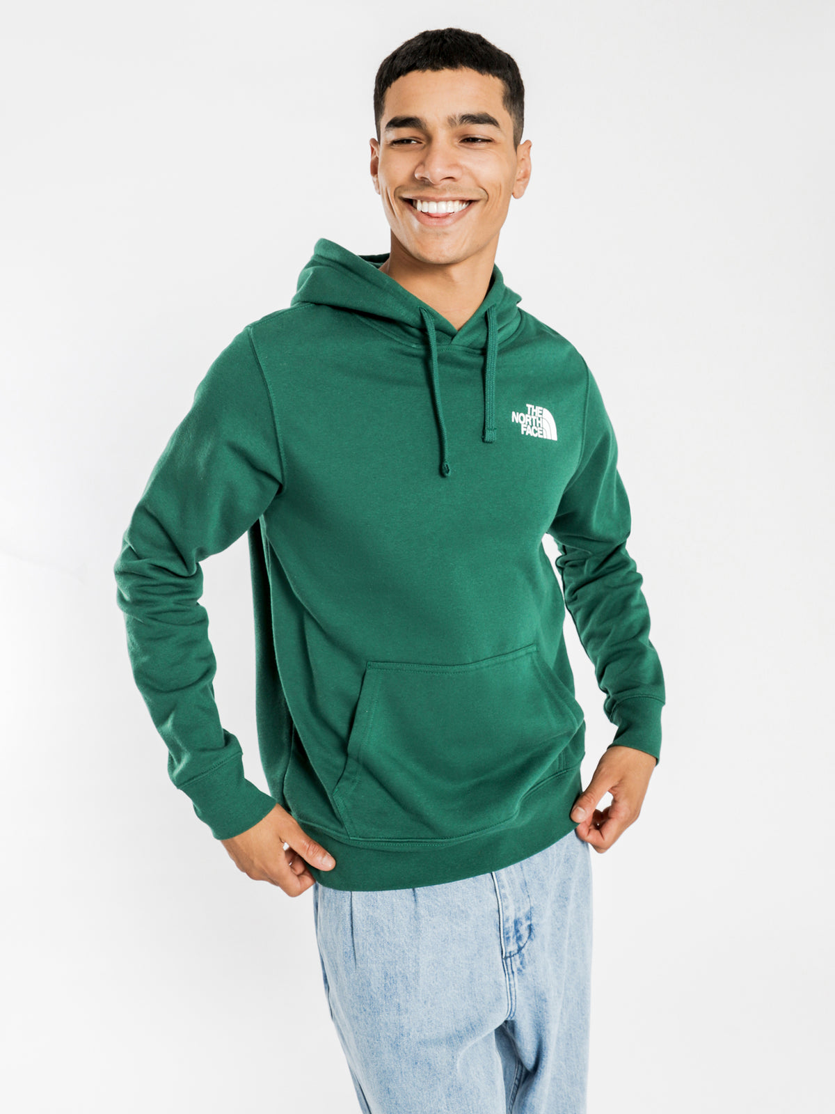 Red Box Pullover Hoodie in Green