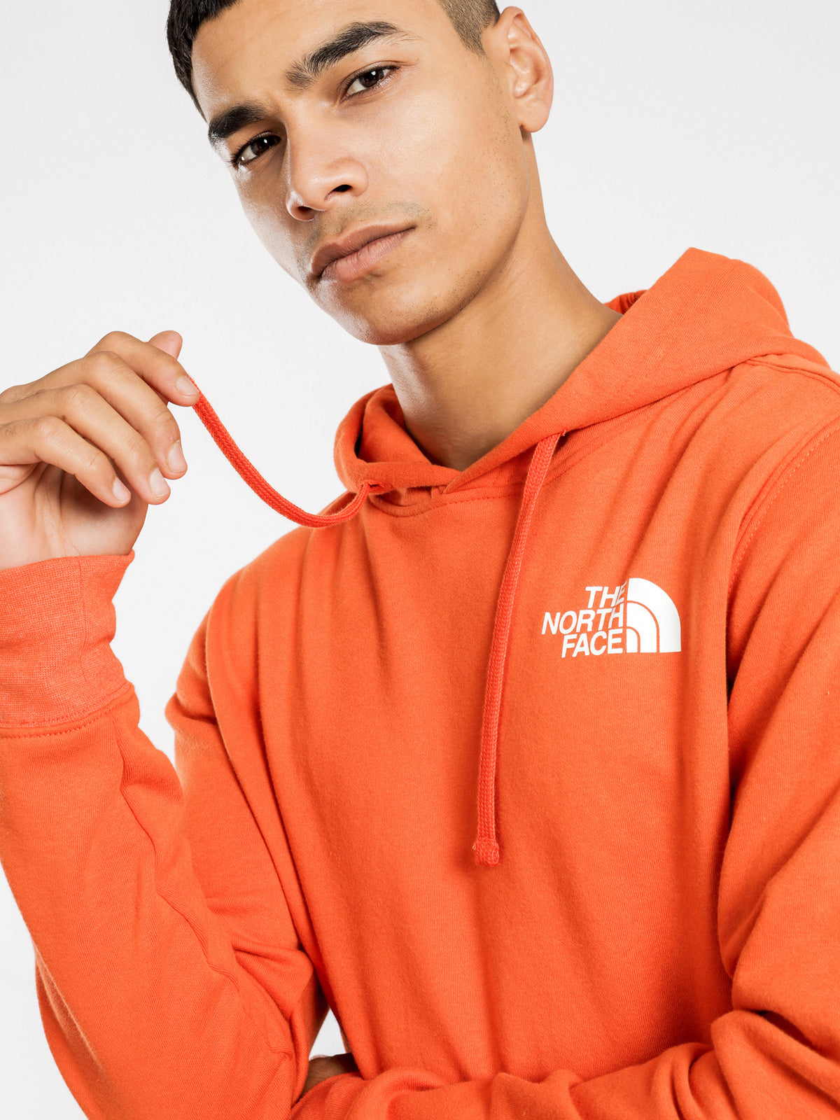 Red Box Pullover Hoodie in Orange