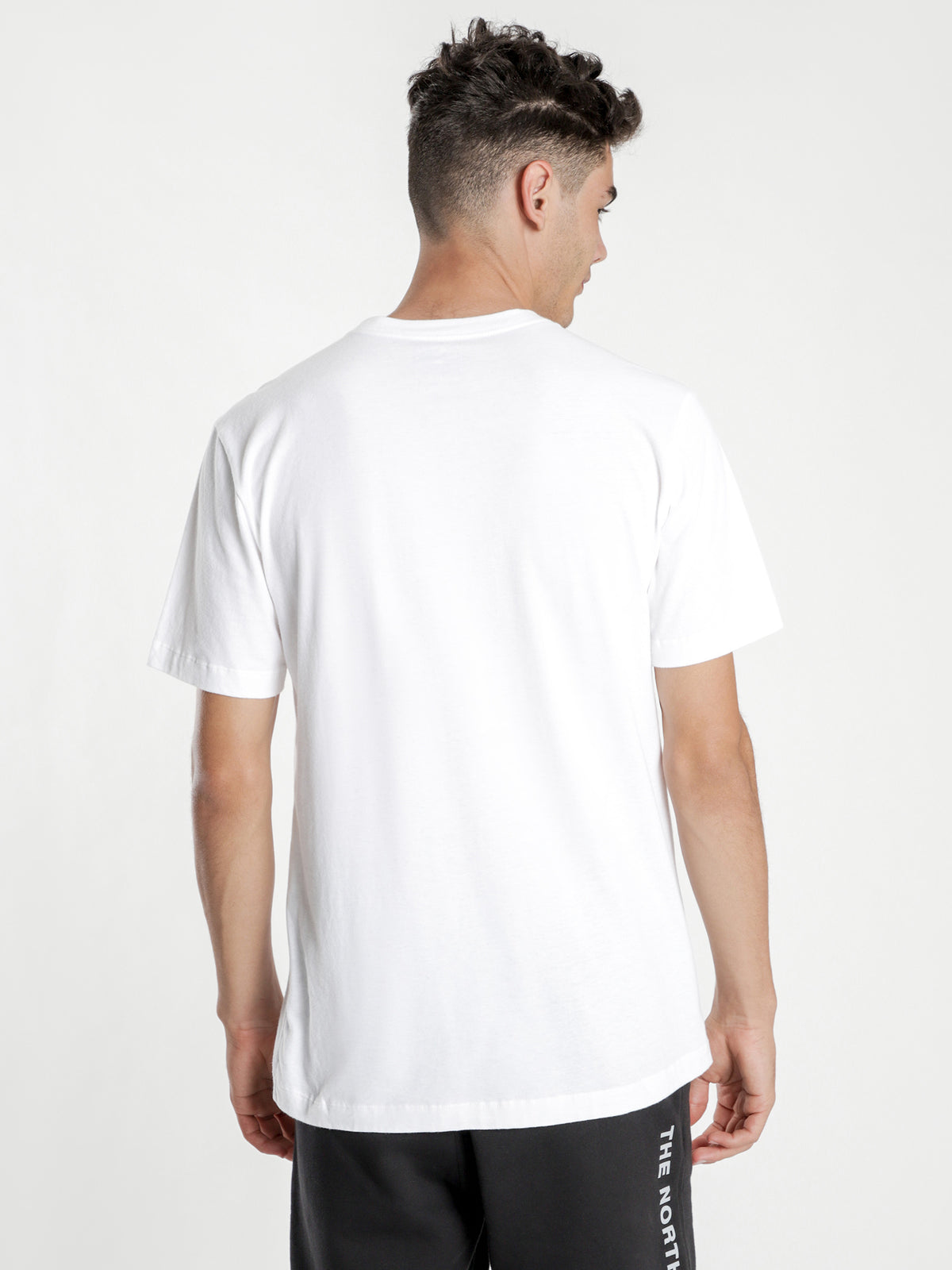 Cotton Short Sleeve T-Shirt in White & Red