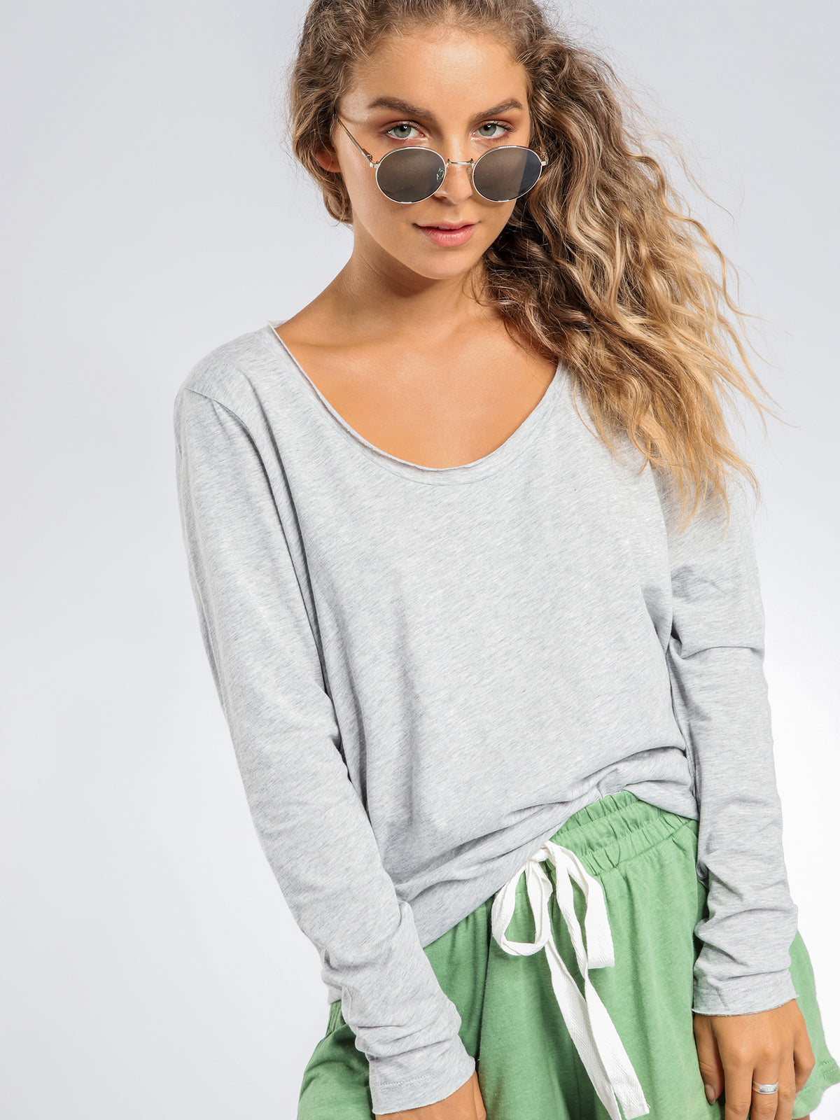 Quinn Scoop Neck Long Sleeve T-Shirt in Grey Marle