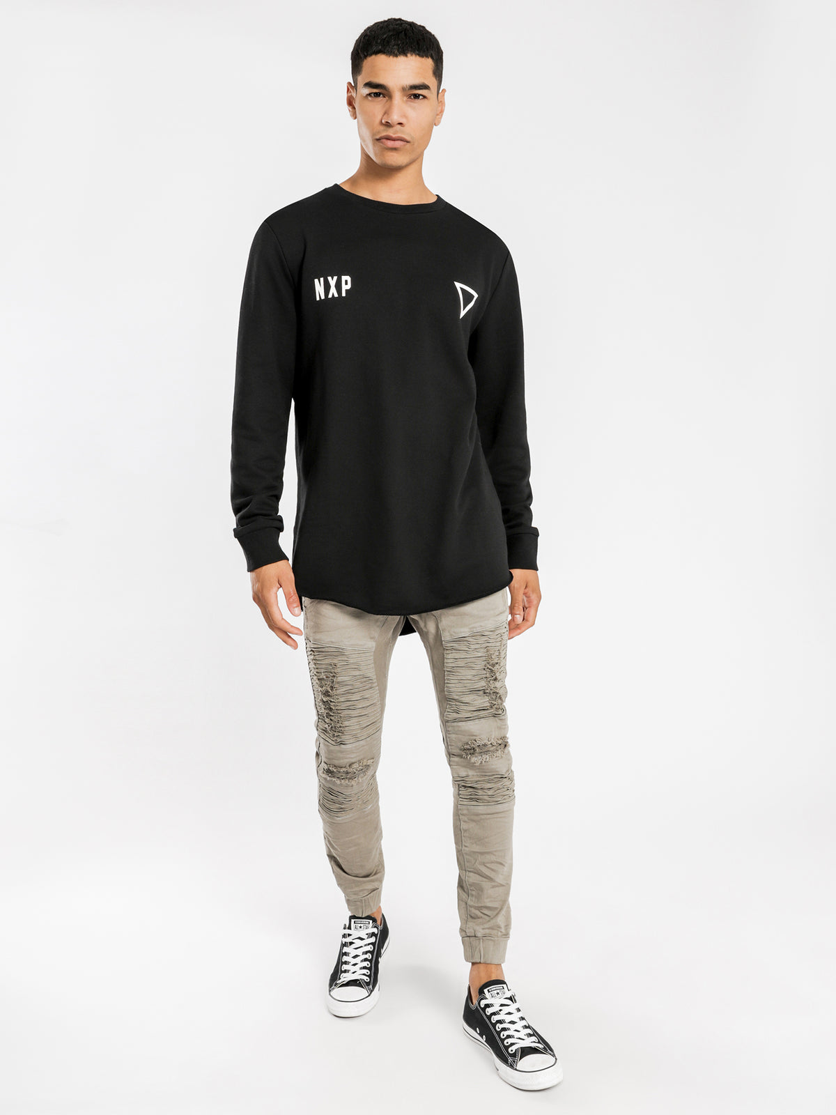 Cat Skills Baseball Sweater in Black