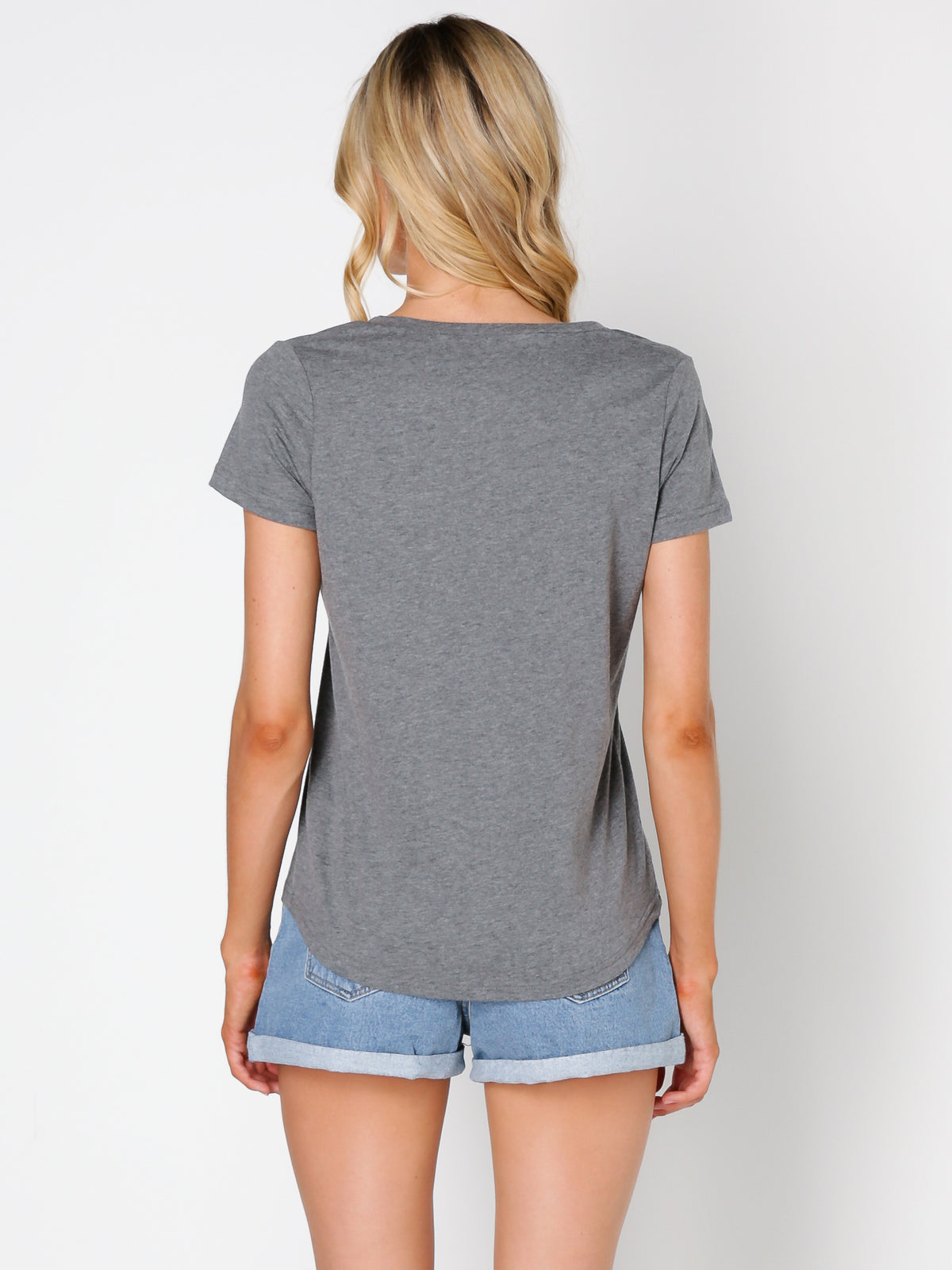 Evie V Neck Tee in Grey