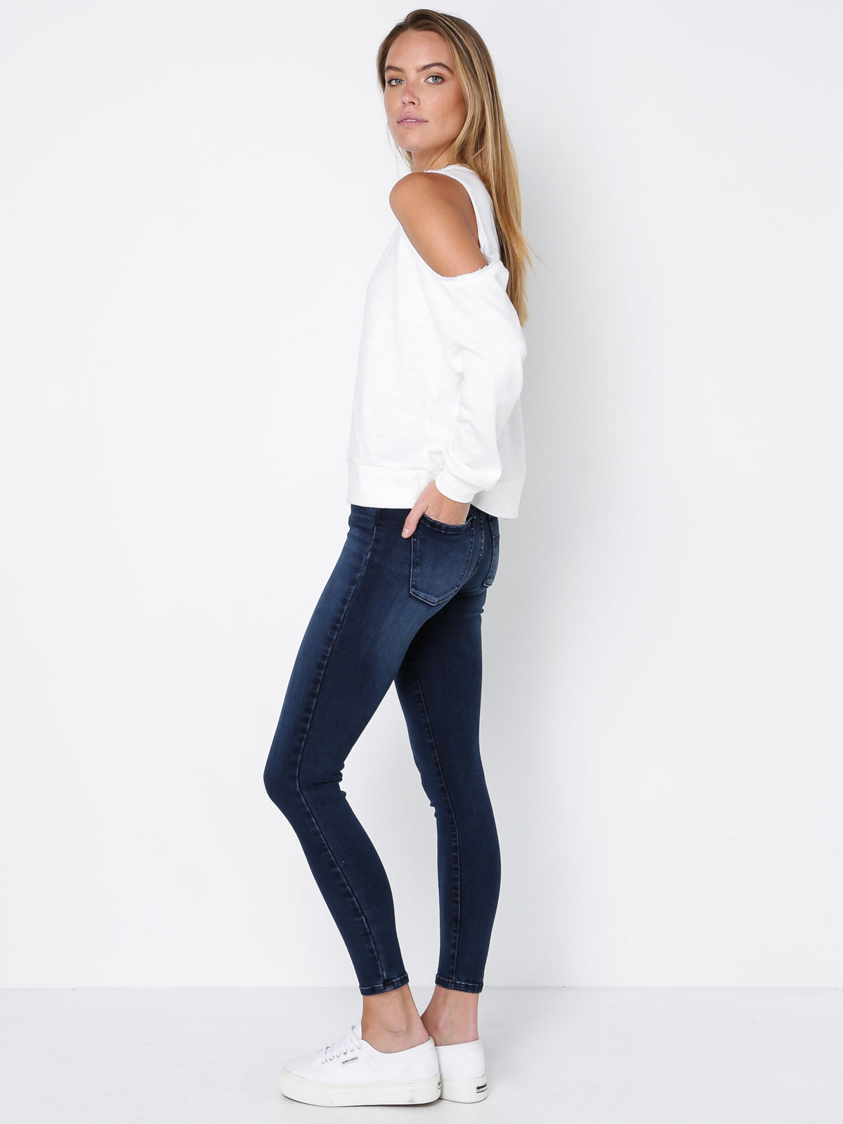 Bryant Off-Shoulder Sweatshirt in Cream